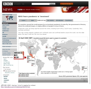 英BBC:Outbreak map: How flu is spreading
