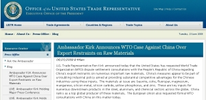 Ambassador Kirk Announces WTO Case Against China Over Export Restraints on Raw Materials