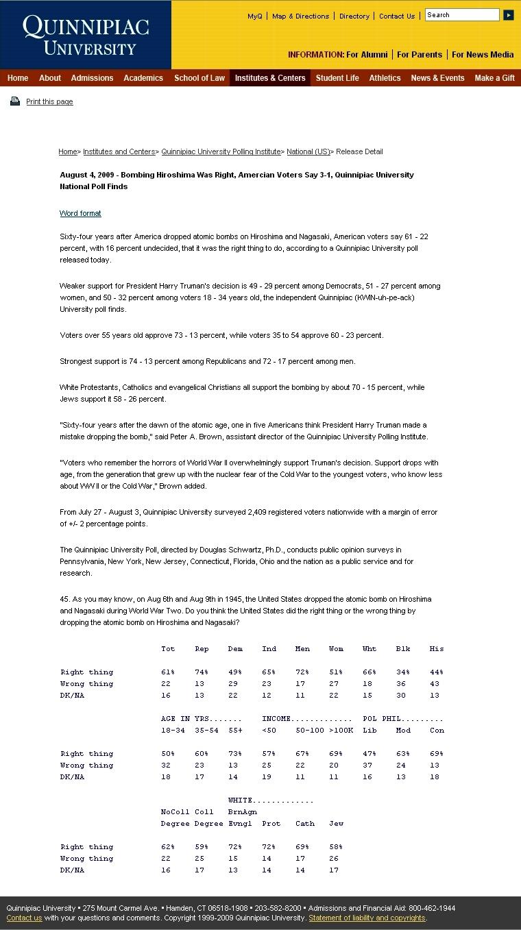 米キニピアック大学原爆投下世論調査結果