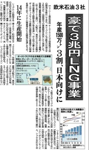 日経:欧米石油3社、豪で3兆円LNG事業、年産1500万トン、3割、日本向けに。