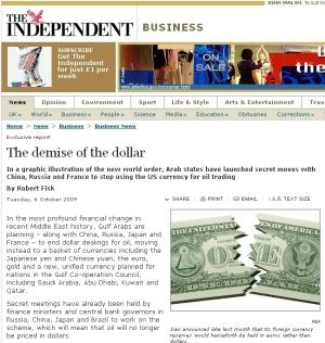 英インディペンデント紙「ドル終焉(The demise of the dollar)」の波紋広がる