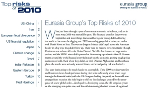 ユーラシア・グループ:Top Risks and Red Herrings for 2010