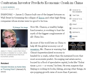 NYT:Contrarian Investor Predicts Economic Crash in China