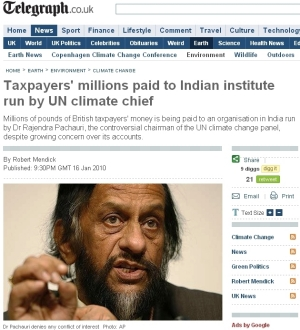 Taxpayers' millions paid to Indian institute run by UN climate chief ヒマラヤ氷河消失も根拠なし、IPCCのパチャウリ議長には会計疑惑も浮上中