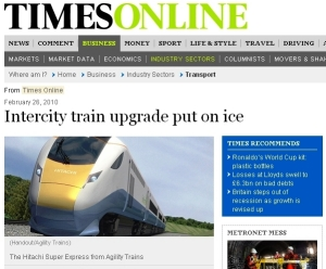 Intercity train upgrade put on ice - Times Online