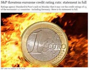ユーロ炎上、米S&Pのユーロ圏15カ国格付け一斉見直しで