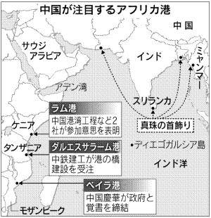 中国「真珠の首飾り」南へ、アフリカ東部進出に米印警戒(日経より)