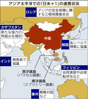 日経=「日米プラス1」で中国けん制 インドなどと連携 南シナ海ではフィリピンが橋頭堡