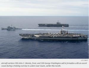 米空母2隻が「尖閣」近くに集結、中国への警告と日本への注意喚起か