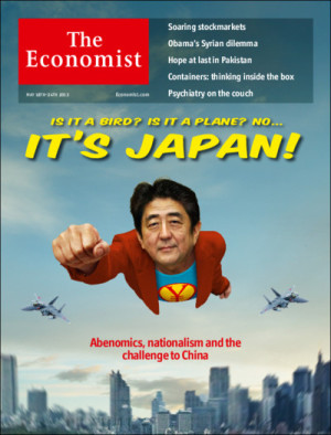 英エコノミスト誌の表紙で、安倍ちゃん、なんとスーパーマン