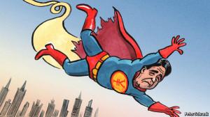 英エコノミスト誌で、落っこちる安倍ちゃんスーパーマン